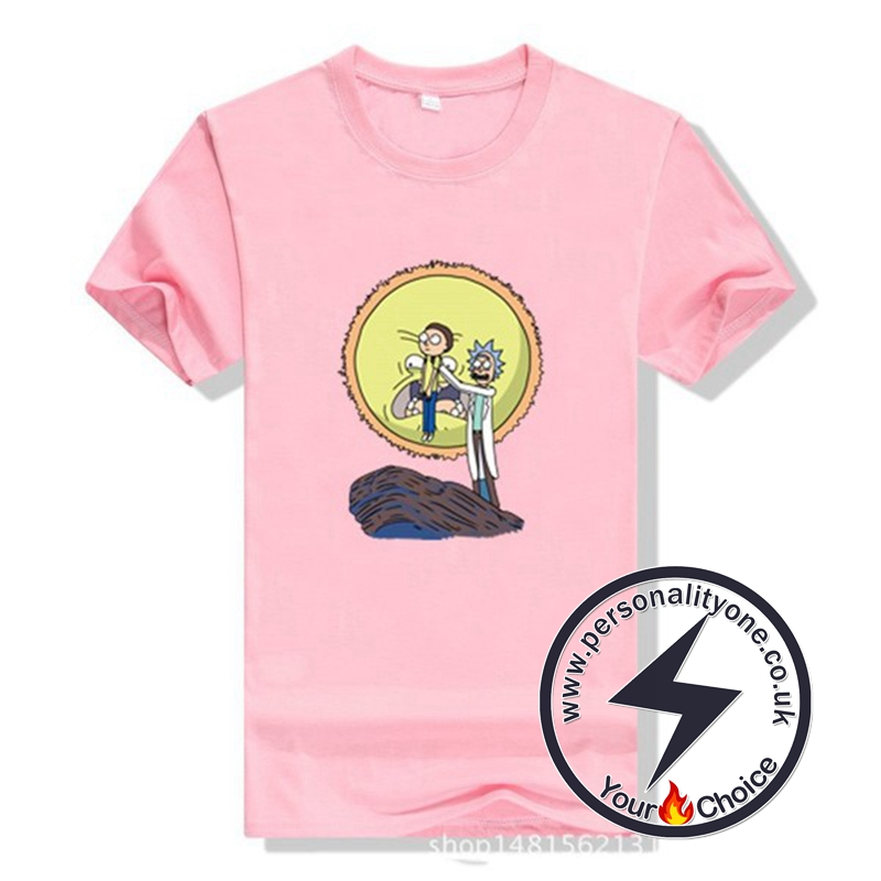 New Arrival Rick And Morty Men T-shirt Pink
