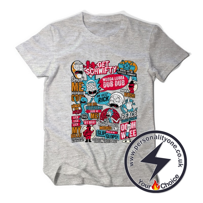 Rick and Morty Anime Style T-shirt gray