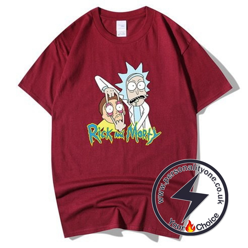 Summer Rick And Morty T-shirts Red wine