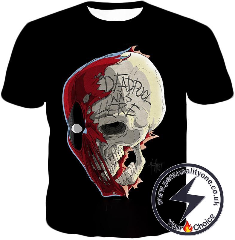 Awesome Deadpool Skull Promo Cool Black T-Shirt