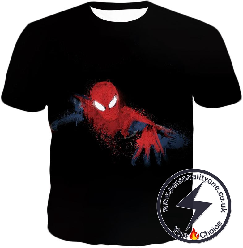 Awesome Hero Spiderman Faded Print Black T-Shirt