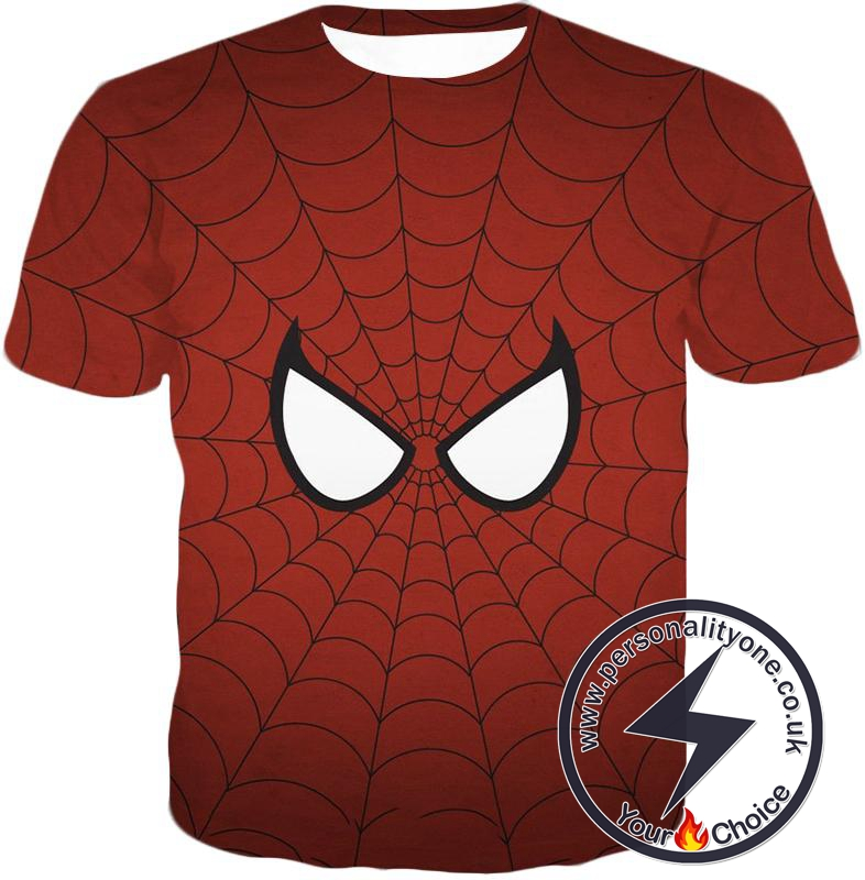 Cool Spider Net Patterned Spidey Eyes Red T-Shirt
