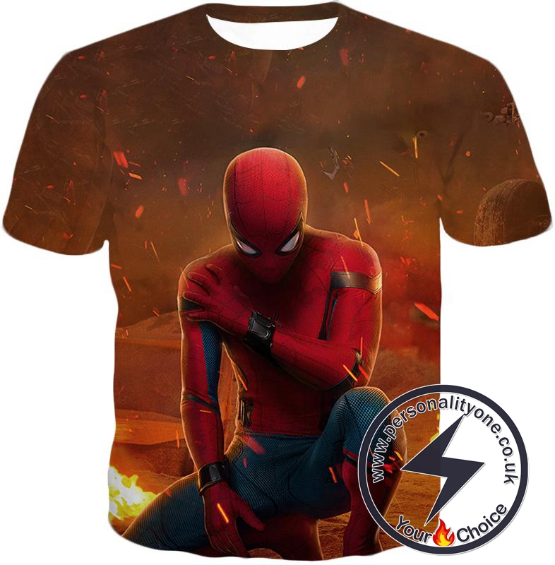 Cool Spiderman Homecoming Battlefield Action T-Shirt