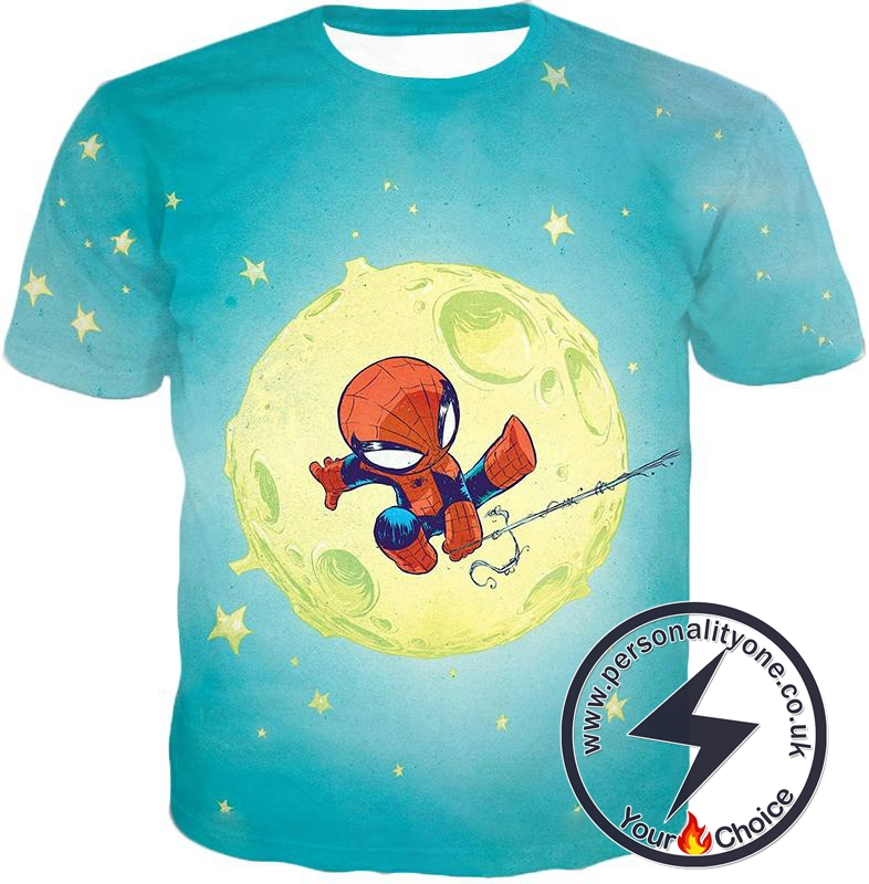 Cute Animated Spiderman Swinging Cool Blue T-Shirt