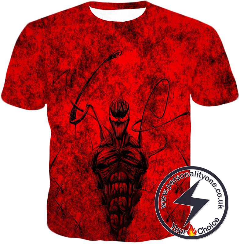 Deadly Spiderman Villain Carnage Blood Red T-Shirt
