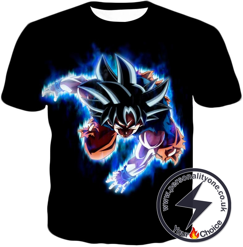 Dragon Ball Super Awesome Goku Ultra Instinct Action Promo Cool Black T-Shirt
