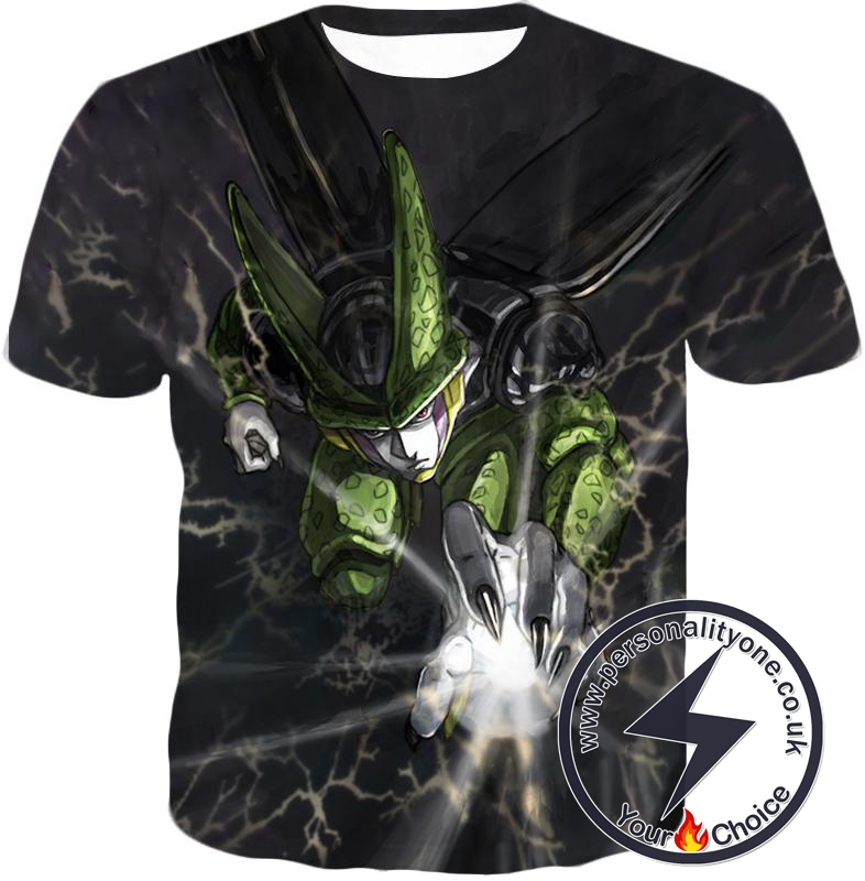 Dragon Ball Super Deadly Regenerating Villain Cell Cool Action Black T-Shirt