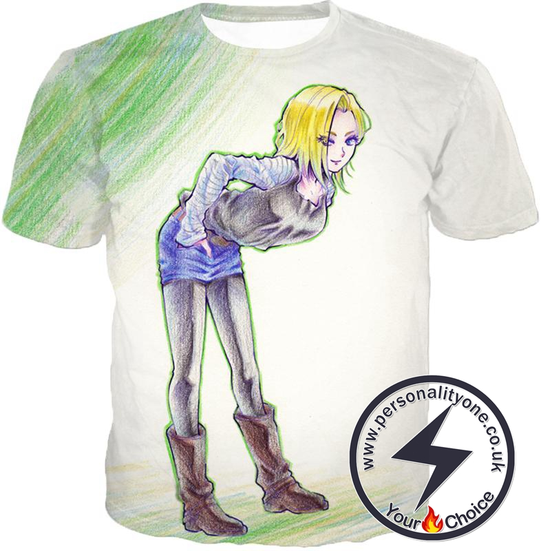Dragon Ball Super Super Cute Android 18 Drawing Cool White T-Shirt