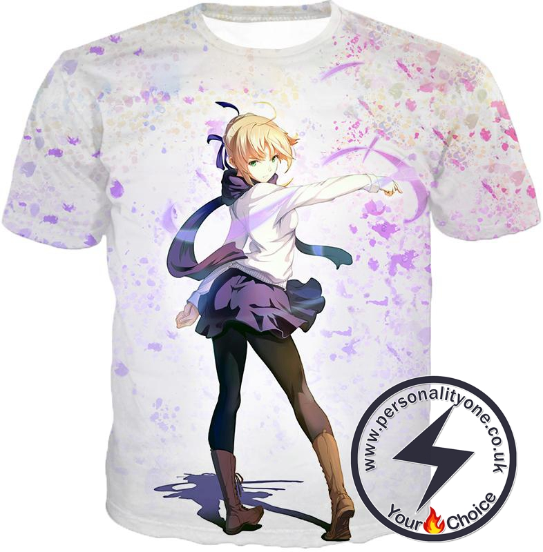 Fate Stay Night Beautiful Blonde Fate Series Saber White T-Shirt