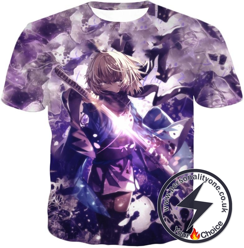 Fate Stay Night Grand Order Deadly Fighter Saber Sakura Action T-Shirt