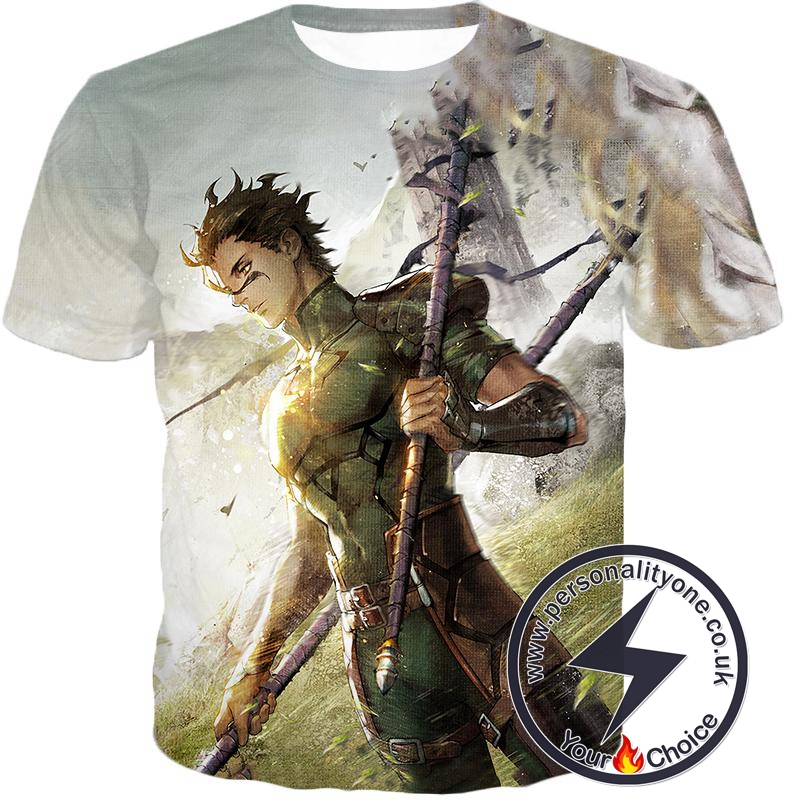 Fate Stay Night Very Cool Lancer Diarmuid Action White T-Shirt