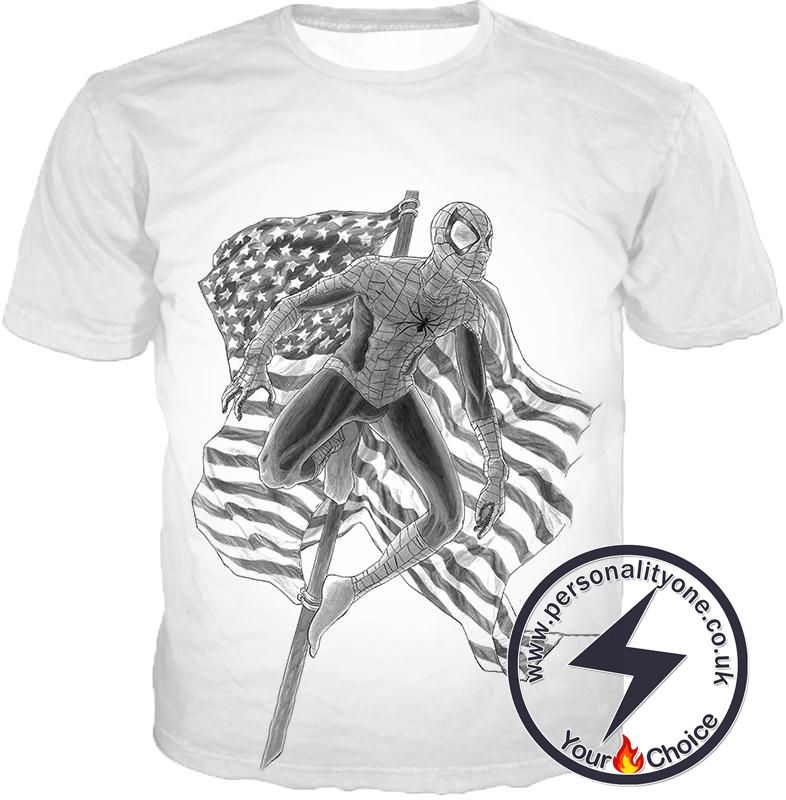 Favourite American Hero Spiderman Sketch White T-Shirt