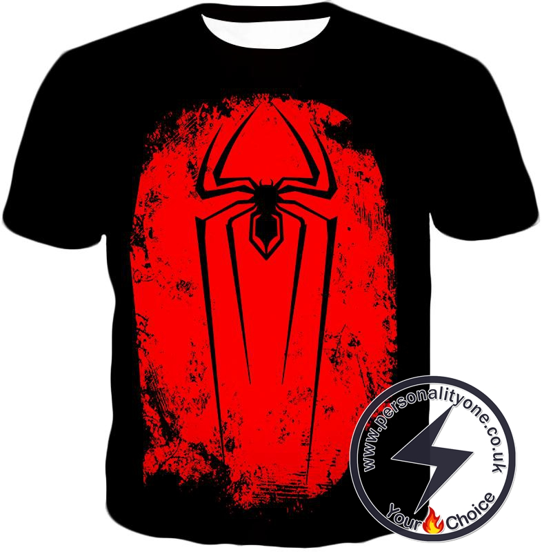 Incredible Red Spider Logo Promo Black T-Shirt