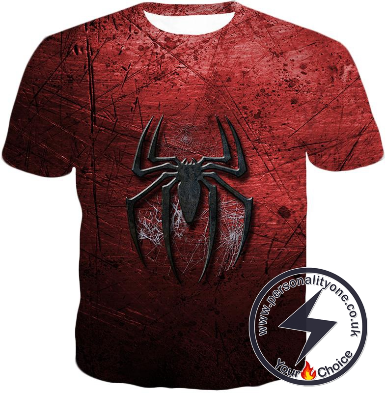 Marvels Ultimate Spiderman Logo Cool Scratched Red T-Shirt