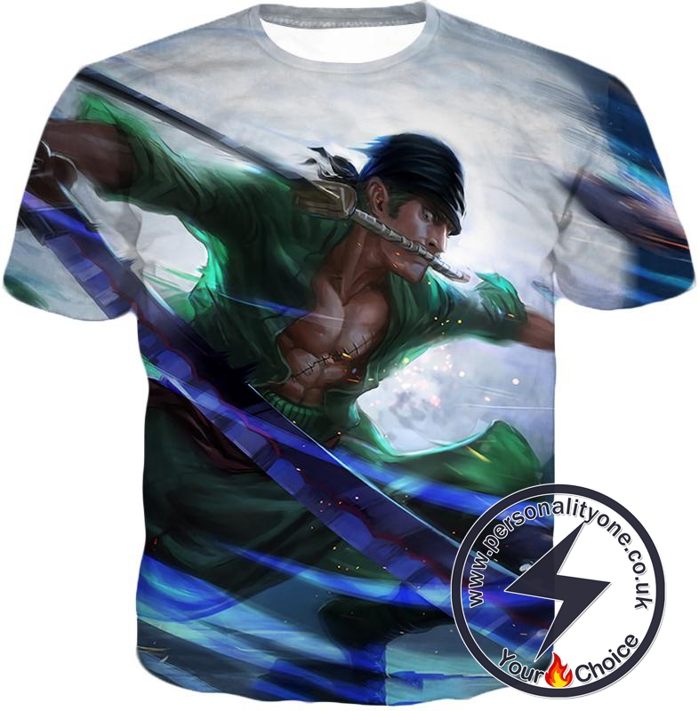 One Piece Awesome Swordsman Roronoa Zoro Action White T-Shirt