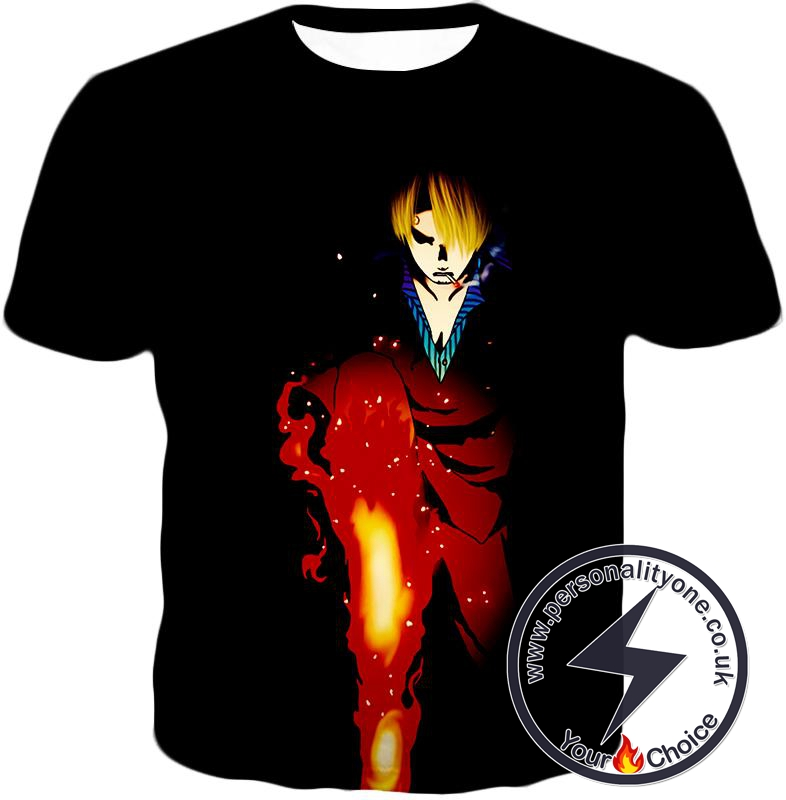 One Piece Black Leg Sanjis Diable Jambe Awesome Action Black T-Shirt