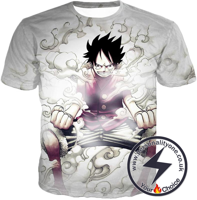 One Piece Cool Pirate Hero Monkey D Luffy Action White T-Shirt