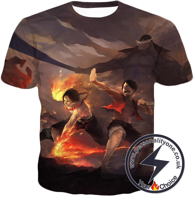 One Piece Powerful Brothers Bond Luffy and Ace Cool Battle Action T-Shirt