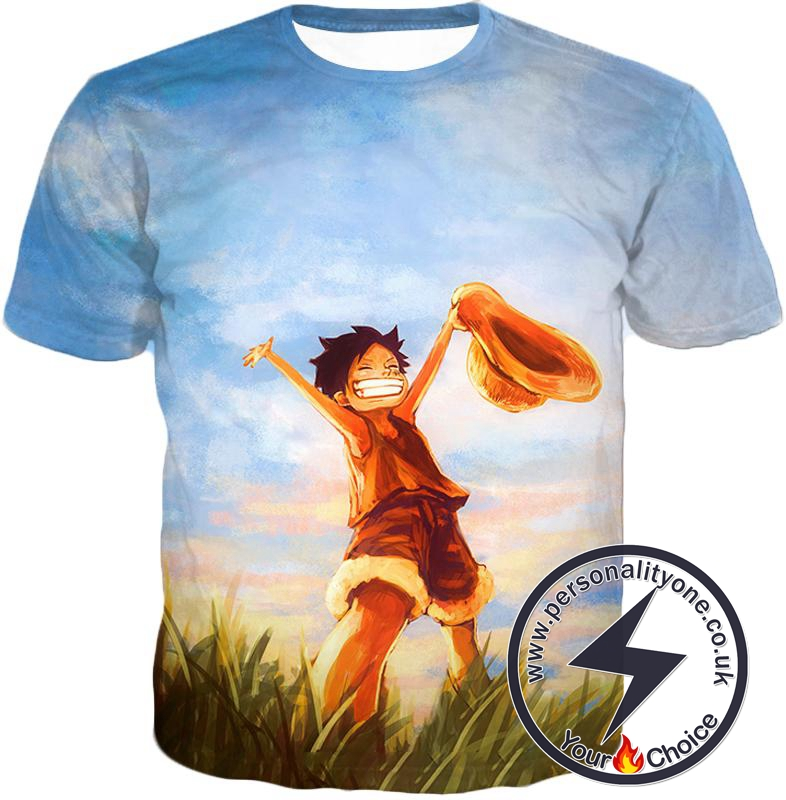 One Piece Super Cool One Piece Pirate Kid Luffy Blue T-Shirt