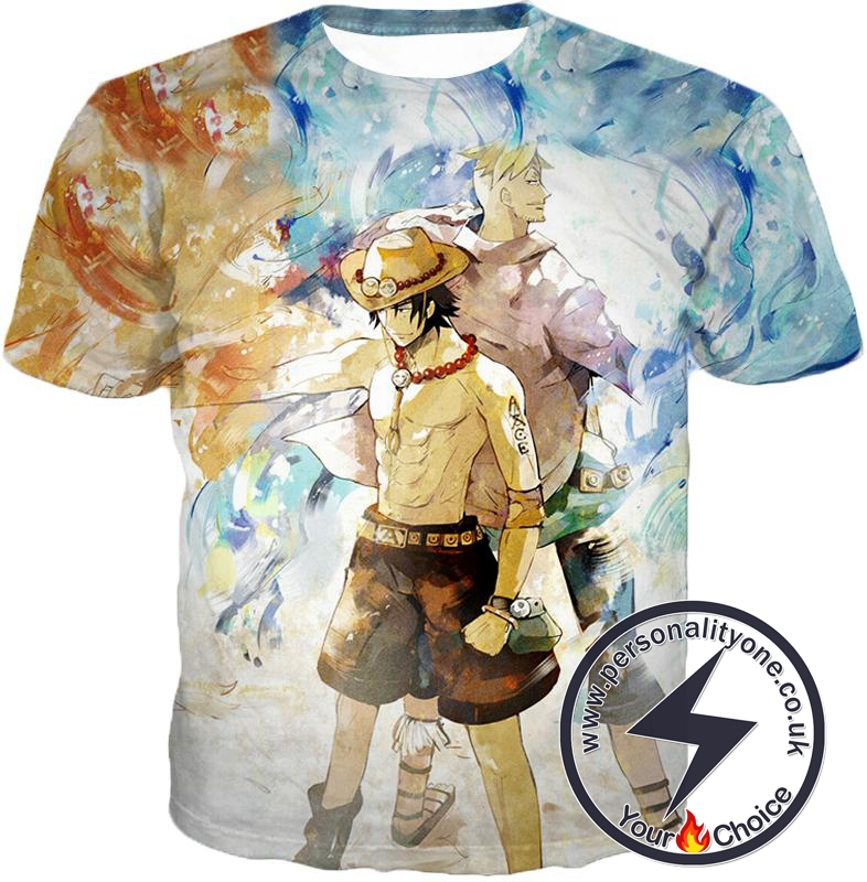 One Piece Whitebeard Pirates Fire Fist Ace and Marco the Phoenix Action T-Shirt