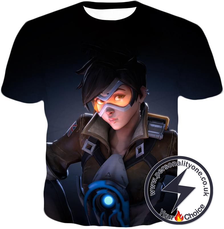 Overwatch Time Traveling Overwatch Agent Tracer Cool Black T-Shirt