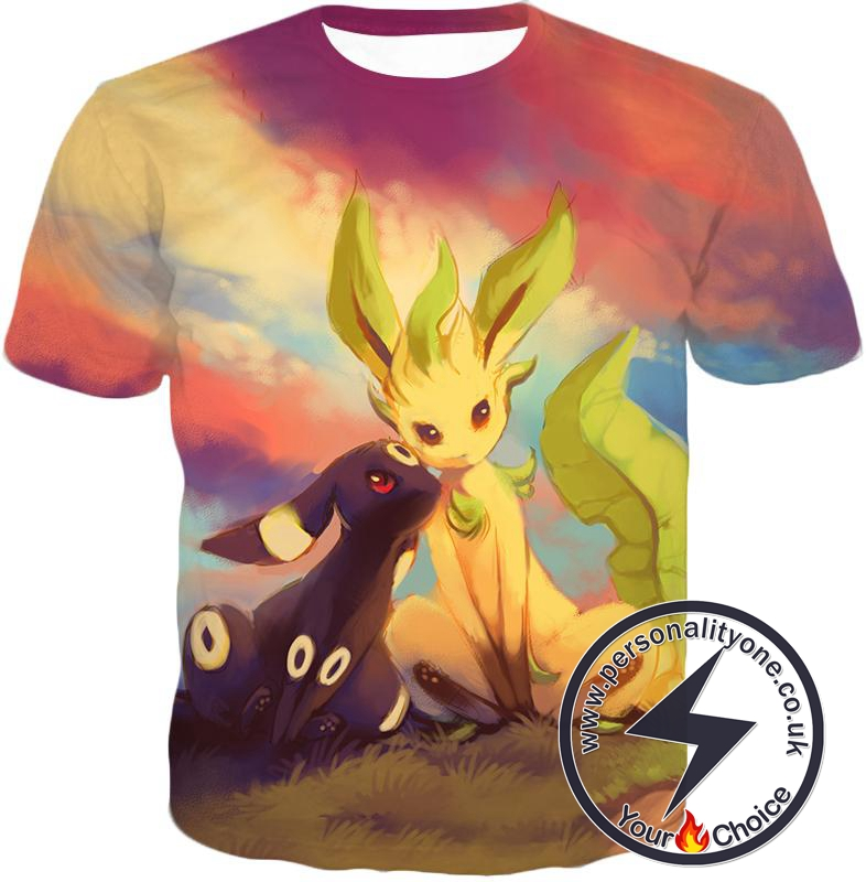 9319baf44 Pokemon Cute Wolf Pokemons Umbreon and Leafeon T-Shirt larger image