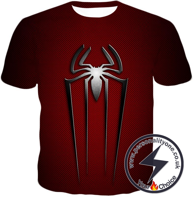 Red Costume Patterned Spiderman Logo Promo T-Shirt