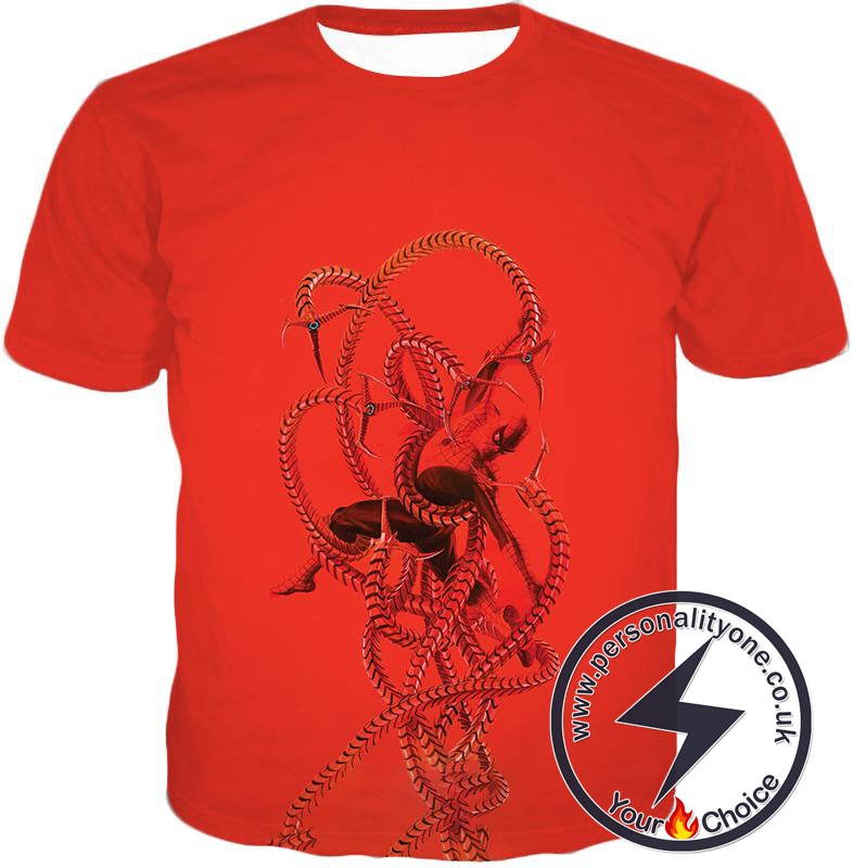 Spiderman in Octopus Claws Cool Red Action T-Shirt