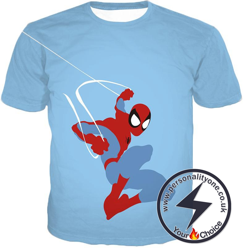 Super Cool Animated Spiderman Web Action Blue T-Shirt