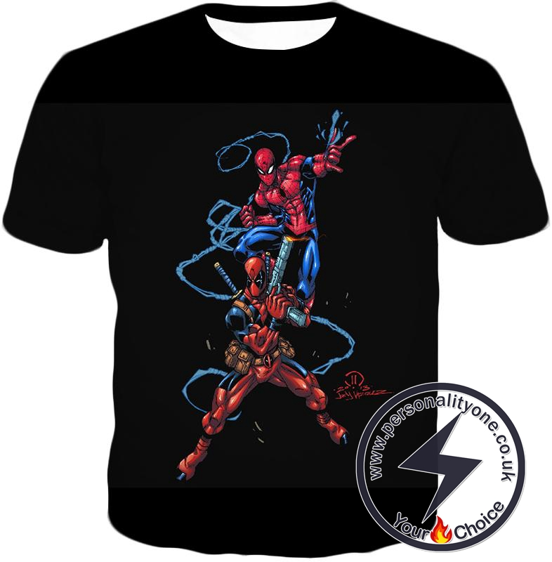 Super Cool Spiderman and Deadpool Action Black T-Shirt