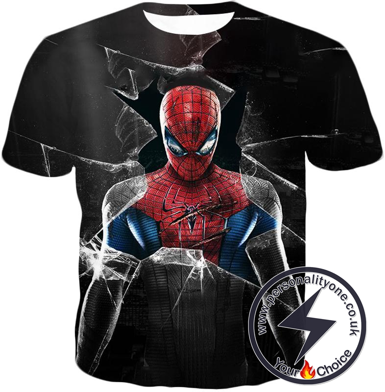 Super Cool The Amazing Spiderman Poster Black T-Shirt